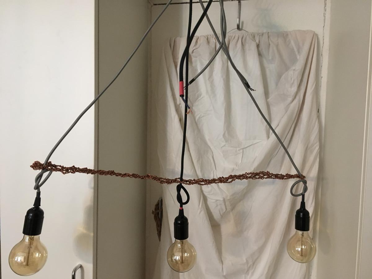 Newly created Lamps; Bauhaus Style; connections made from pure copper